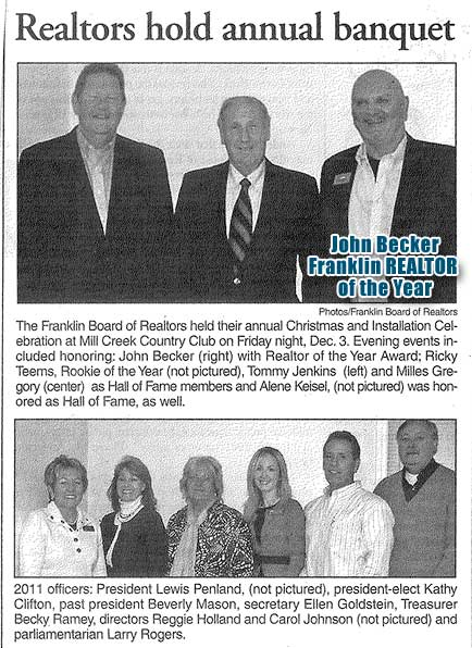 John Becker honored as REALTOR of the Year by his REALTOR Colleagues in Franklin NC