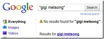 Gigi Metsong Search as of 1/17/2011 4:25pm EST